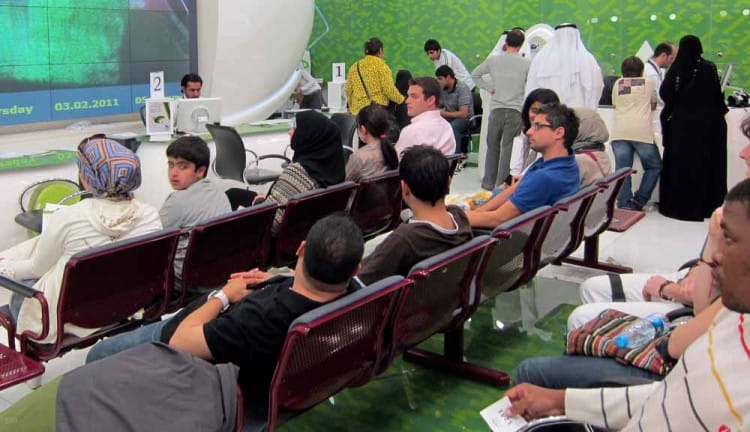 Customers at the Etisalat Store in the Dubai Mall