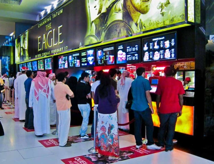 Customers waiting for food at the Reel Cinemas at the Dubai Mall