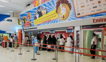 Parents and children queuing for the Kidzania theme park at the Dubai Mall