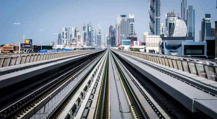 View from a train on the Dubai Metro Red Line