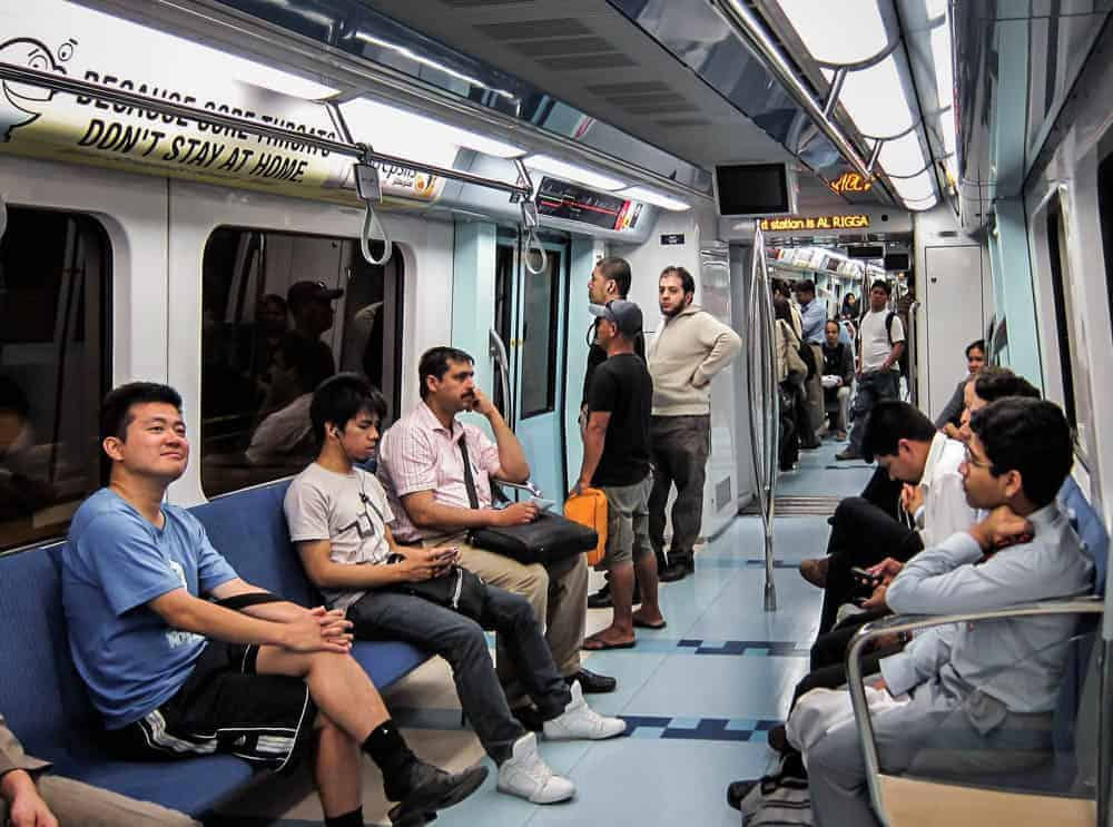 Passengers in a Standard Class carriage on the Dubai Metro