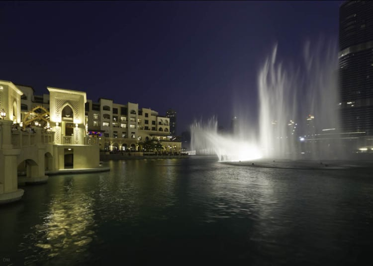 The Dubai Fountain at Downtown Dubai viewed from Souk Al Bahar