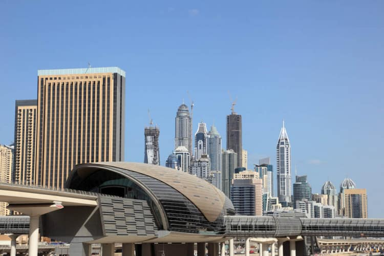 View of Jumeirah Lakes Towers Metro Station with Dubai Marina in the background