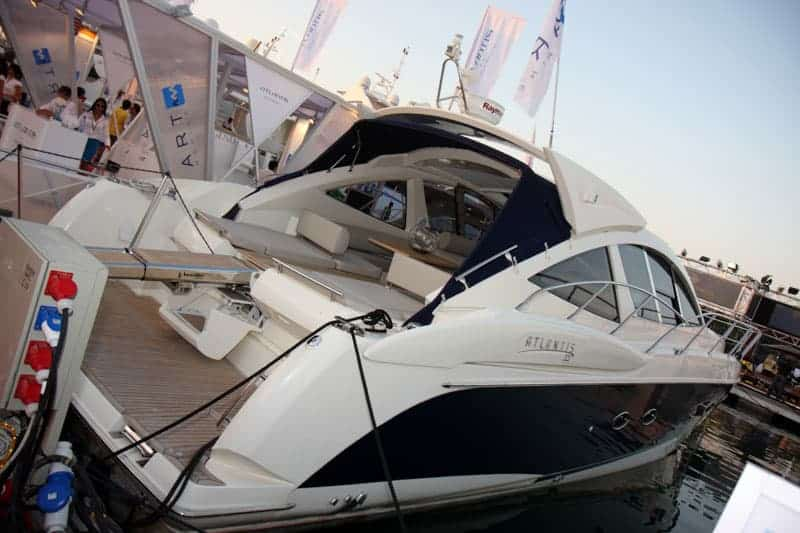 Luxury yacht on display at the Dubai International Boat Show