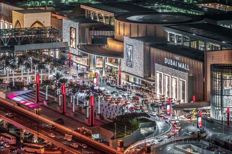 Aerial photo of the Dubai Mall