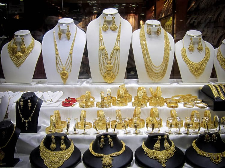 Necklaces in the window of the Gold Souk in Dubai