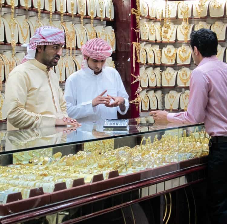 Staff serving customers in a shop at the Gold Souk in Dubai