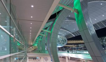 Interior view of the futuristic Dubai International Airport