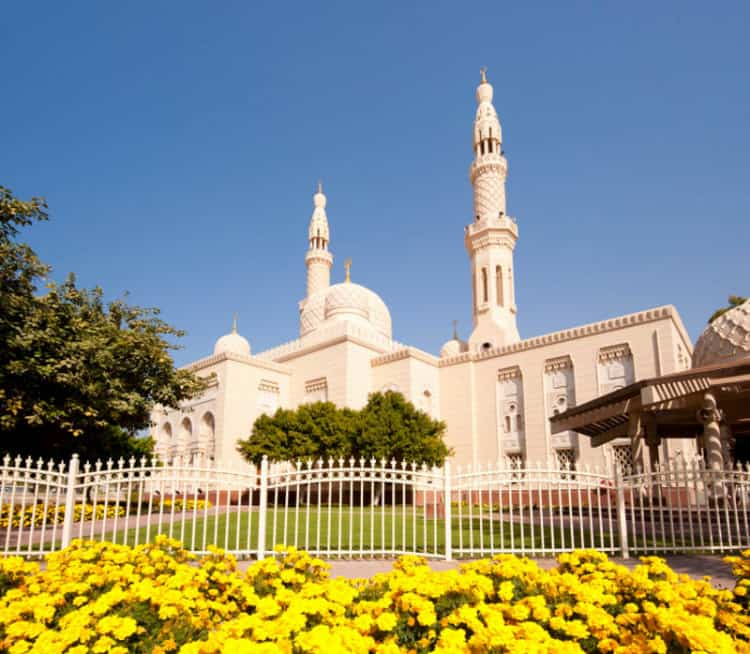 View of the Jumeirah Mosque, the only mosque in Dubai open to non-Muslims