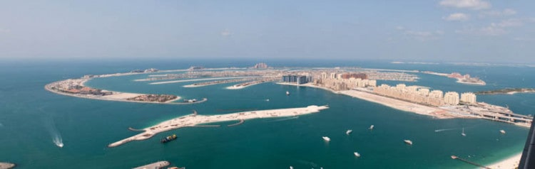 Aerial photograph of the Palm Jumeirah, an artificial island on the coast of Dubai