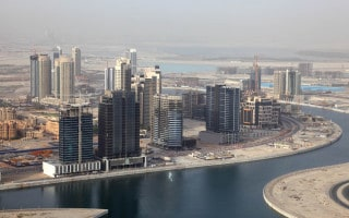 Aerial view of the Business Bay development in Dubai