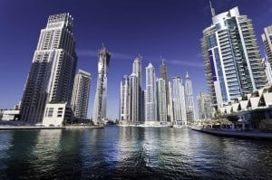 View of the skyscrapers and harbour at Dubai Marina