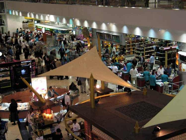 View of the duty free shops at Dubai International Airport