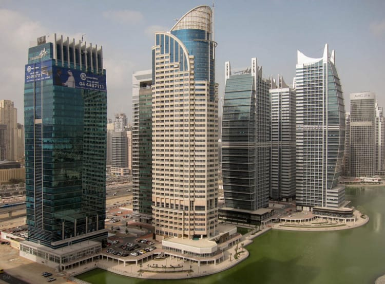 View of the skyscrapers at Jumeirah Lakes Towers in Dubai