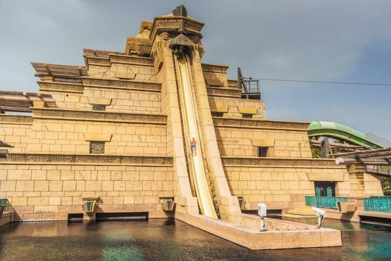 Leap of Faith slide at Aquaventure water park in Dubai