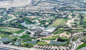 Aerial photo of Emirates Golf Club in Dubai