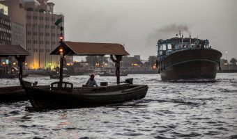 Boats at the dock of Bur Dubai Abra Station