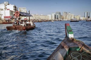 Boat approaching Deira Old Souk Abra Station in Dubai