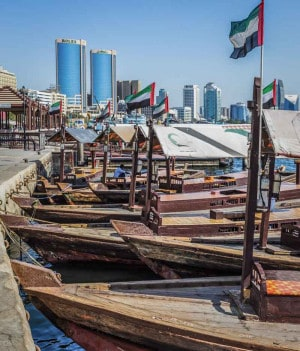 Boats at Sabkha Abra Station in Deira, Dubai