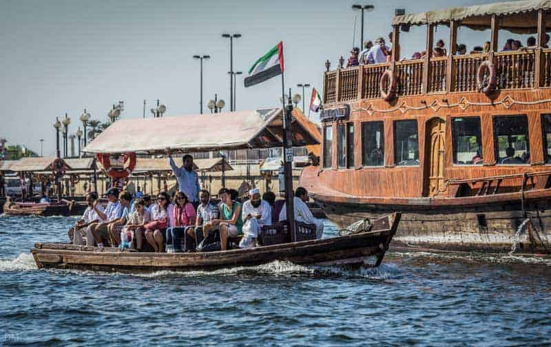 Crossing the Dubai Creek on an abra