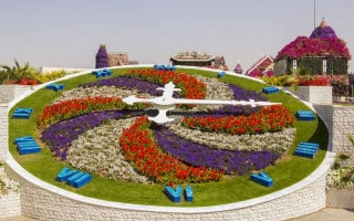 Floral clock at Dubai Miracle Garden