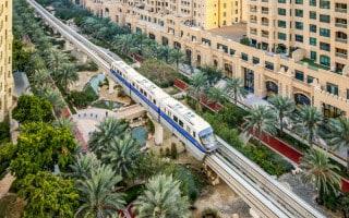 Train at Ittihad Park Station, Palm Jumeirah Monorail, Dubai