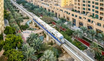 Train at Ittihad Park Station, Palm Jumeirah Monorail, Dubai