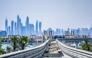 Train on the Palm Jumeirah Monorail in Dubai