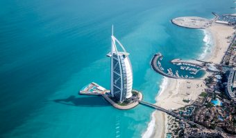 View of the Burj Al Arab and Persian Gulf sea in Dubai