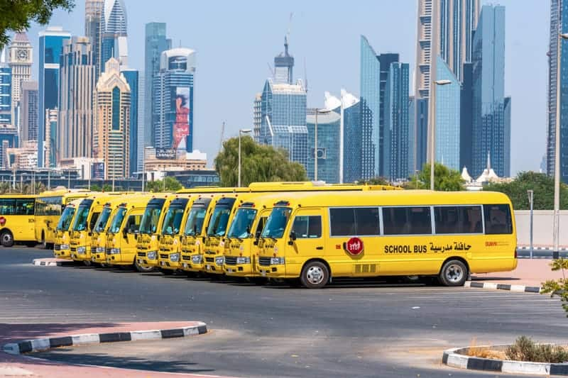 School buses parked in Dubai