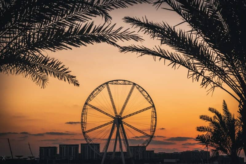 Sunset at Ain Dubai ferris wheel, Bluewaters Island, Dubai