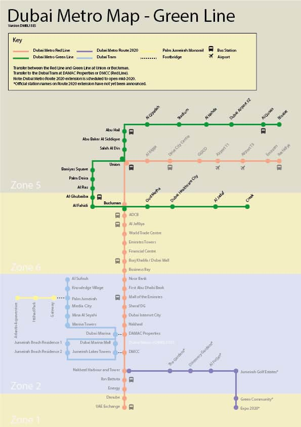 Dubai Metro Green Line - Map, Stations and Route