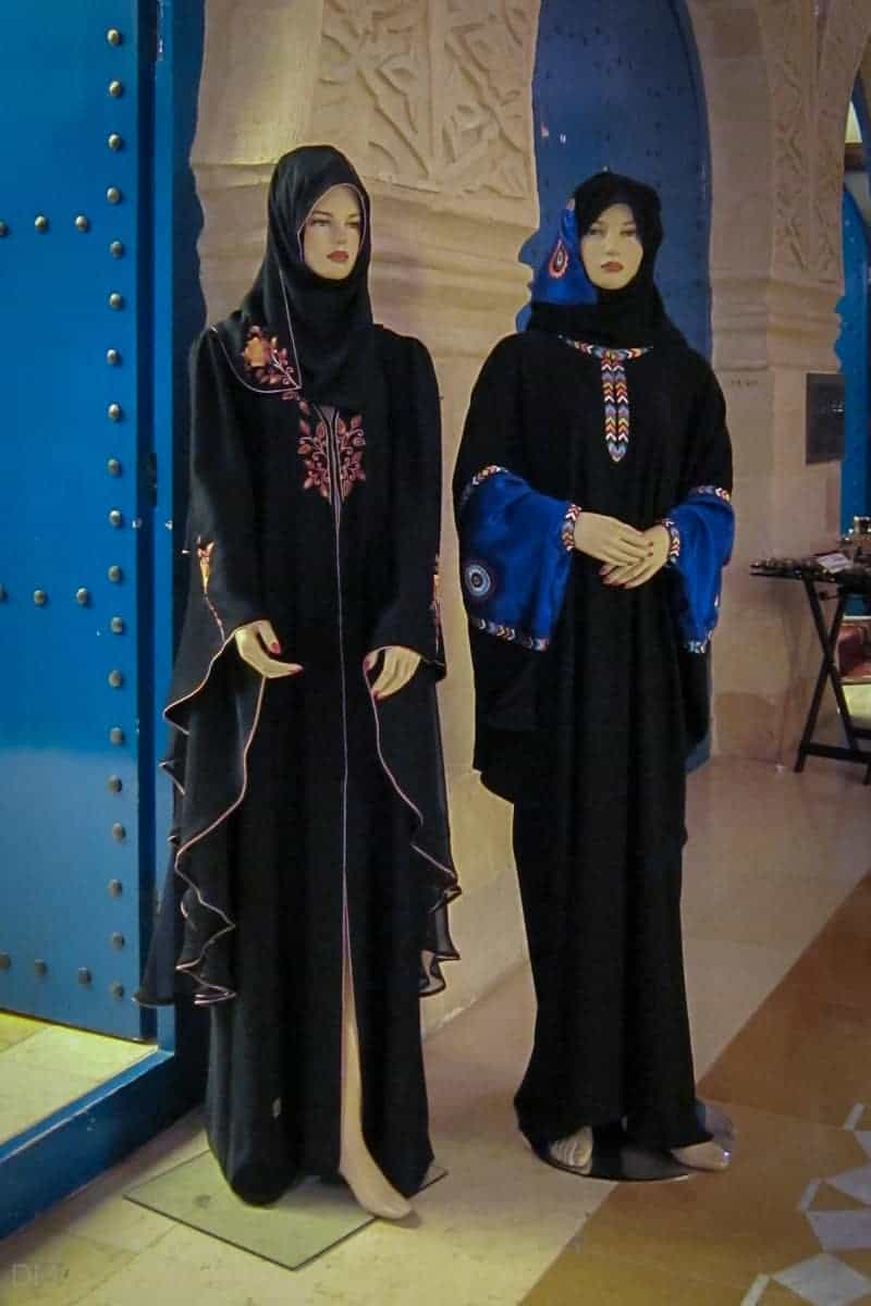 Abayas and shaylas for sale in Khan Murjan souk, Dubai