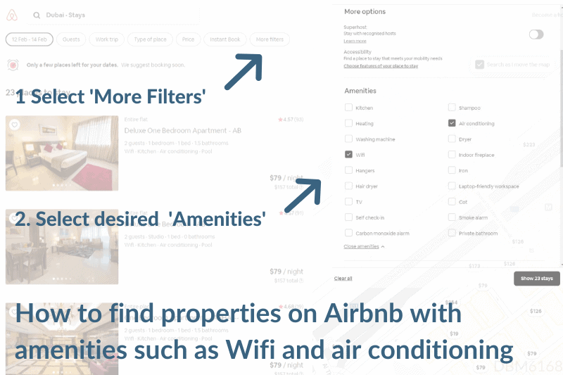 How to book an Airbnb with amenities such as Wifi and air conditioning