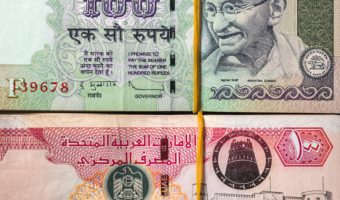 UAE dirham and Indian rupee bank notes