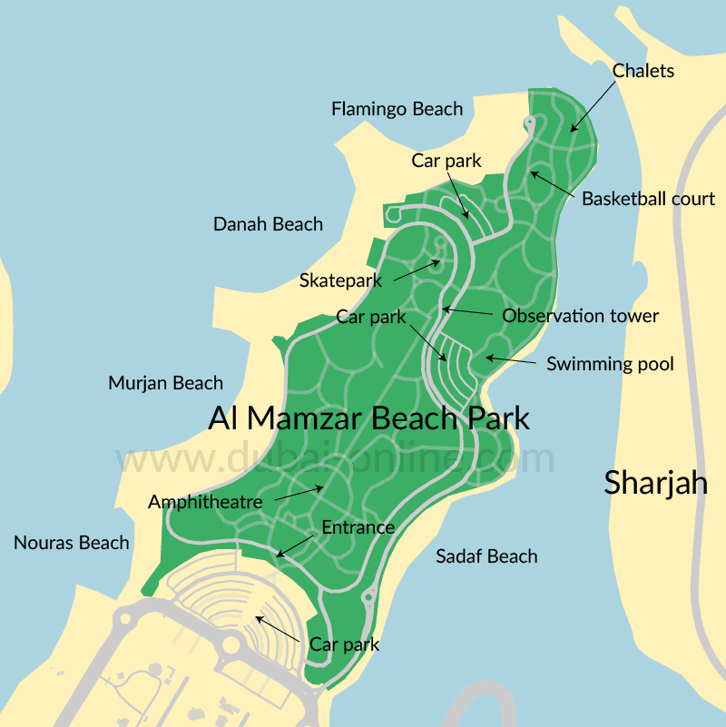 Plan of Al Mamzar Beach Park in Dubai showing locations of beaches, chalets, entrance etc.