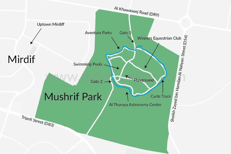 Plan of Mushrif Park showing location of swimming pool, cycle track, observatory, swimming pools etc.