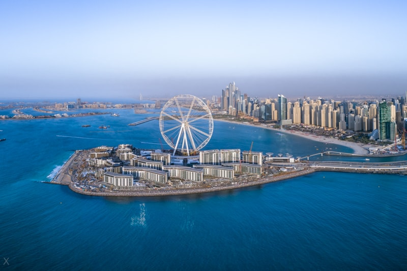 View of Bluewaters Island, Ain Dubai, and Jumeirah Beach Residence