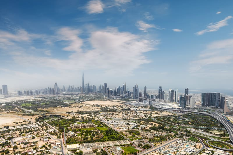 Aerial photograph of Zabeel and Trade Centre