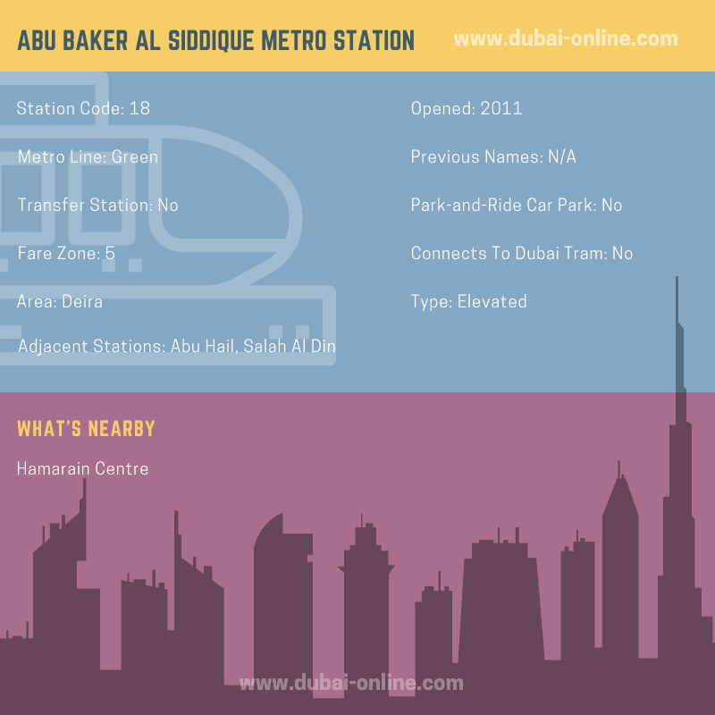 Information about Abu Baker Al Siddique Metro Station in Dubai