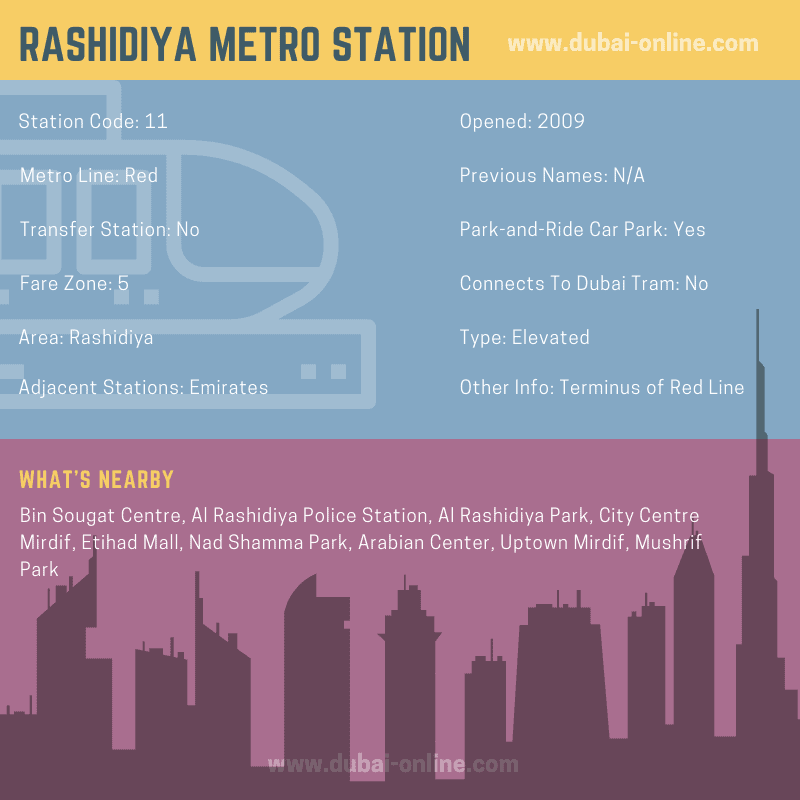 Rashidiya Metro Station, Dubai - Information and Facilities