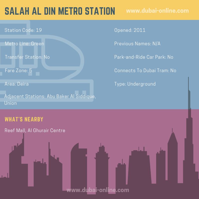 Information about Salah Al Din Metro Station in Dubai