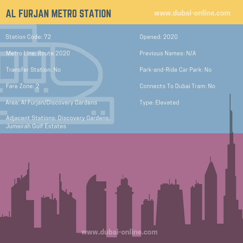 Information about Al Furjan Metro Station, Route 2020, Dubai