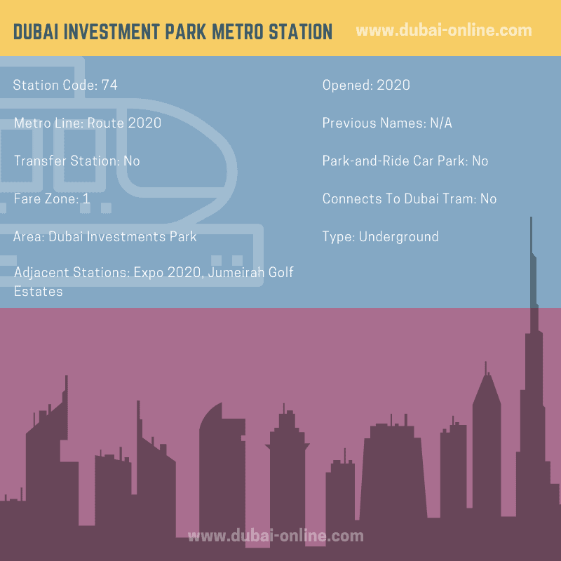 Information about Dubai Investment Park Metro Station, Route 2020, Dubai Metro