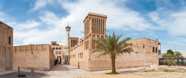 Traditional Arabic architecture at the Bastakia Quarter in Dubai