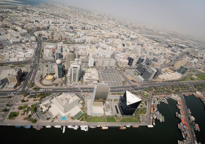 Aerial view of Deira and the Dubai Creek