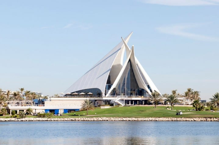 View of the iconic clubhouse at the Dubai Creek Golf and Yacht Club