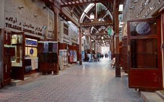 View of covered walkway at the Old Souk or Textile Souk in Bur Dubai