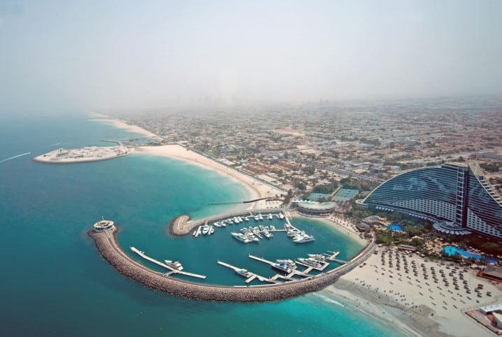 Aerial photograph of the Umm Suqeim area of Dubai, with the Jumeirah Beach Hotel